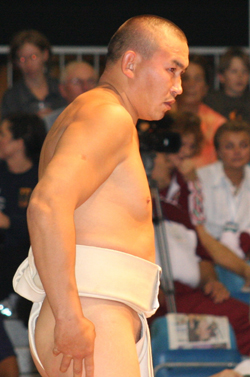 Kan-Demir Kuular, sumo wrestler from Tuva. Courtesy of Uwe Paelser, Riesa