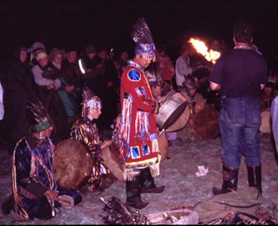 Night ceremony on the Khaiyrykan mountain. 2003. Photo by Daniel Allgoewer