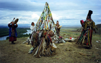 Kamlanie in Tuva - shamanic ceremony for the erection of a place of sacrifice 2007 in Tuva - photo by Vera Charitonova