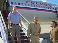 Russian President Vladimir Putin and Prince Albert II of Monaco arriving at Kyzyl airport. Photo courtesy of Vesti news-channel.