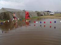 Лагерь на международных соревнованиях спасателей в Туве оказался в воде. Фото МЧС