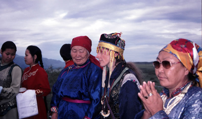 Night ceremony on the Khaiyrykan mountain. Second Shamanic Symposium. Tuva. 2003. Photo by Daniel Allgoewer