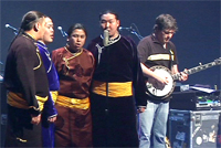 Alash on stage with Bela Fleck. 12 December 2008. Photo by Sam Anderson