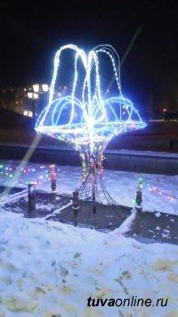 Вечерний Кызыл в огнях