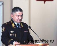 Министр МВД Тувы Александр Щур выступил с отчетом о работе полиции за год в парламенте республики